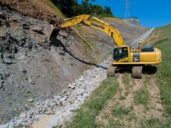 The automatics on Trimble's Earthworks Grade Control Platform enabled construction of a tricky retaining wall. (Photo: Trimble)