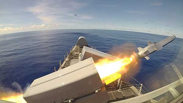 The USS Gabrielle Giffords launches a Naval Strike Missile during exercise Pacific Griffin. (Photo: U.S. Navy//Chief Mass Communication Specialist Shannon Renfroe/Released.)