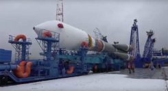 The Soyuz-2.1b launch vehicle with encapsulated Glonass-M satellite is transported to the launchpad. (Screenshot: Russian Ministry of Defense video)