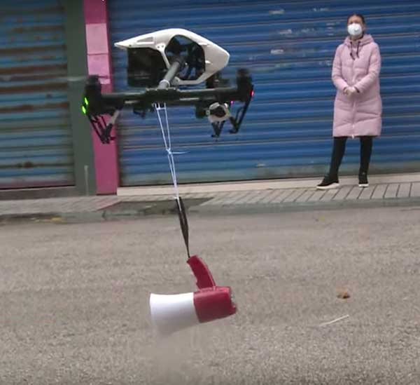 Drone with megaphone. (Screenshot: Xinhuanet video)