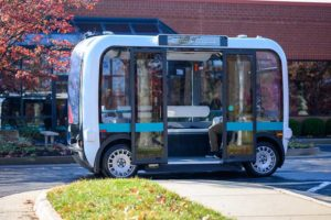 The Olli shuttle, equipped with Robotic Research's AutoDrive kit, is deployed on busy boardwalks, campuses and public roads. (Photo: Robotic Research)
