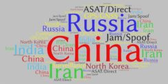 This word cloud from CSIS Space Threat Assessment 2020 shows that China received by far the most mentions, followed by Russia. (Image: RNT Foundation)