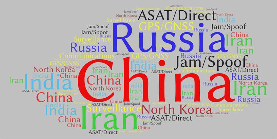 This word cloud from CSIS <em>Space Threat Assessment 2020</em> shows that China received by far the most mentions, followed by Russia. (Image: RNT Foundation)