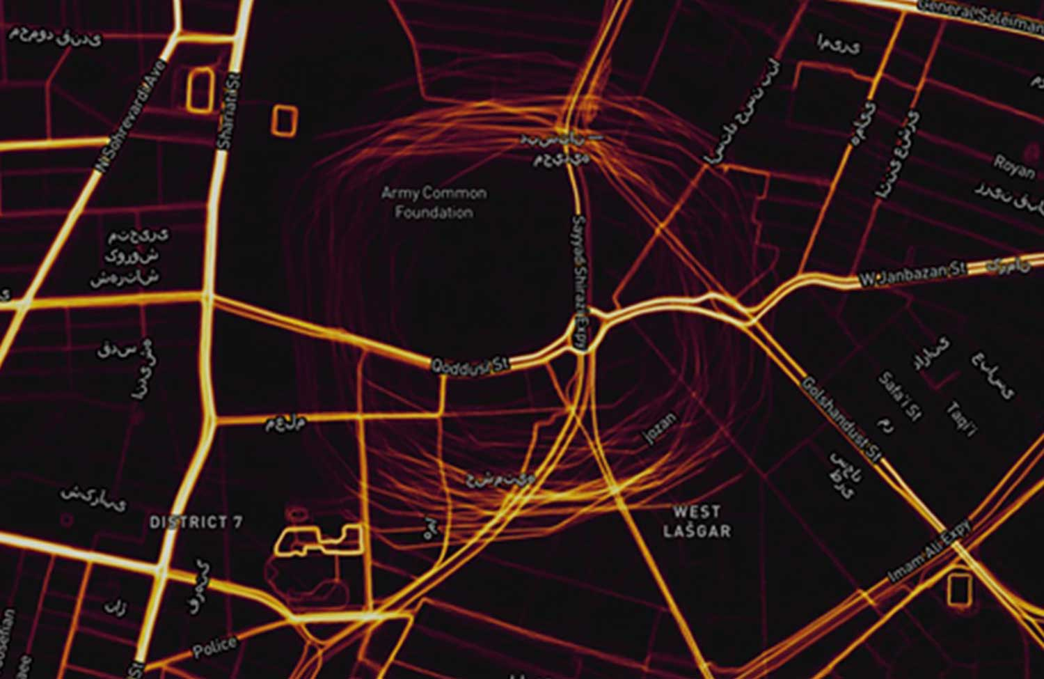 This heat map shows GPS spoofing at a government complex in Tehran,which houses the Ministry of Defense, Communication Regulatory Authority, Telecommunications Infrastructure Company, and Ministry of Telecommunications and Technology. (Screenshot: Dana Goward)