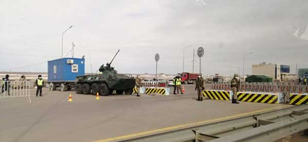 A checkpoint on the border of Nur-Sultan. (Photo: TerraDrone)