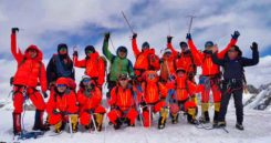 The survey team and sherpas reach the top of the world. (Photo: CHC Navigation)