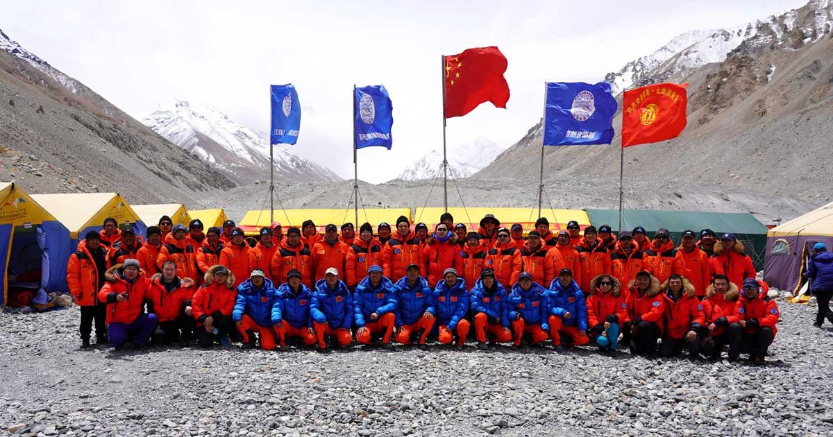 China's National Geodetic Survey Team and its Mountaineer's Team. (Photo: CHC Navigation)