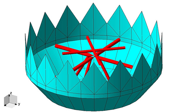 FIGURE 2. An antenna with a tapered base and a sawtooth aperture, which reduces circumferential current flow.