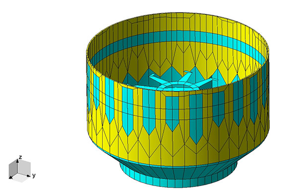 FIGURE 3. The conducting plate waveguide model of the GNSS antenna. The blue plates are conducting sheets and the yellow plates are the dielectric of the PCB.