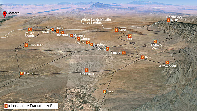 Non-GPS positioning system, White Sands North Range. X = transmitter site.