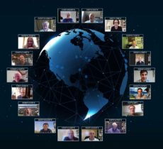 Reaching 'round the world: GPS World staff engage in a teleconference with Editorial Advisory Board members and contributors via teleconferencing. Clockwise from top: Tim Burch, John Fischer, Mitch Narins, William Tewelow, Julian Thomas, Jean-Marie Sleewaegen, Thibault Bonnevie, Ismael Colomina, Michael Swiek, Tony Murfin, Miguel Amor, Alison Brown, Ellen Hall, Brad Parkinson, Stuart Riley, Greg Turetzky, Tracy Cozzens and Matteo Luccio. (Photos: GPS World)