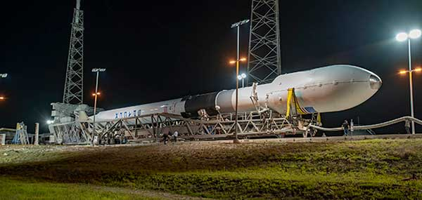 GPS III SV 03 rolls to Cape Canaveral's Space Launch Complex-40 launch pad in preparation for its June 30 launch aboard a Falcon 9. (Photo courtesy of SpaceX via USAF)