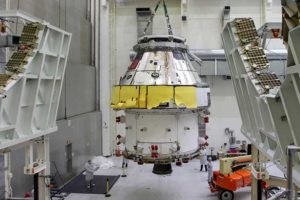 First Orion Spacecraft: In this March 30 photo, Orion I is moved to the Final Assembly and Systems Test cell at Kennedy Space Center. The spacecraft returned from Ohio after a successful series of environmental tests at Glenn Research Center's Plum Brook Station. (Photo: NASA)
