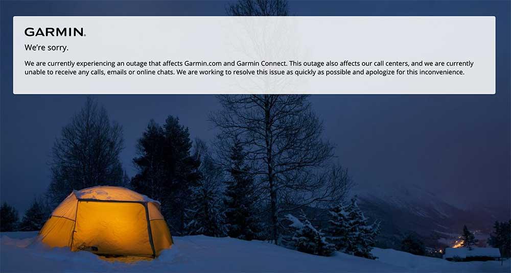 Screenshot: Garmin website