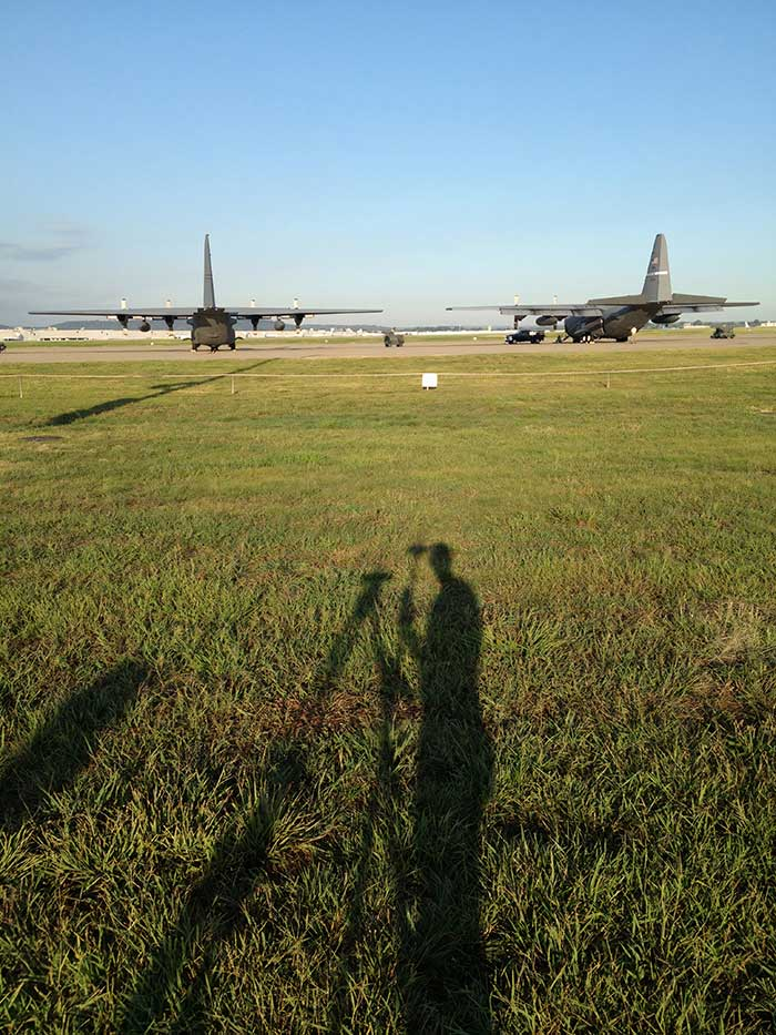 Helping the guard: For the Kentucky Air National Guard, Sibole surveyed for paint lines on the taxiway for C-130 aircraft. (Photo: Matt Sibole)