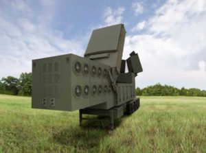 An artist's rendering of the Lower Tier Air and Missile Defense Sensor (LTAMDS), a next-generation radar meant to help defeat advanced threats like hypersonic weapons. (Image: Raytheon/Orolia)