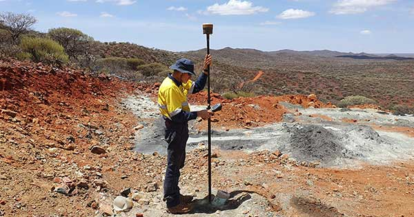 RTK reading on a drill collar: Surveyors faced unique challenges in the beautiful yet rugged terrain of Western Australia, a mineral-rich region that provides nearly 60 percent of Australia's mineral and energy exports. (Photo: Trimble)