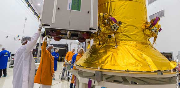 A Galileo satellite undergoes its fit-check validation at the Spaceport. (Photo: ESA/Arianespace)