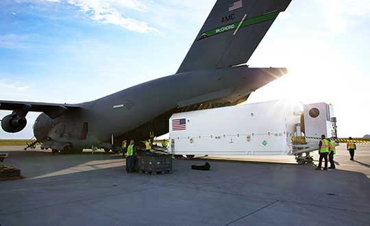 The fourth GPS III satellite arrived at Cape Canaveral July 14 for launch on Sept. 30. (Photo: USAF)