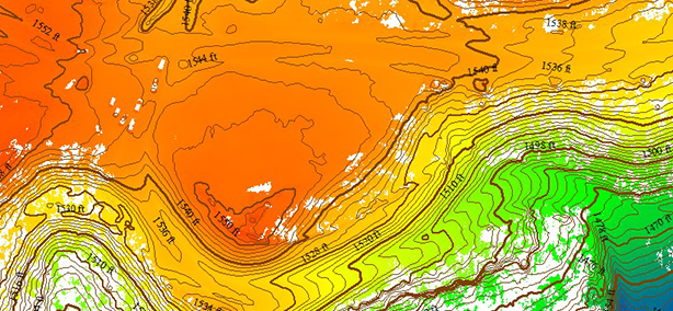RTL-400 generated digital terrain model (DTM) overlaid with contour map. (Image: RedTail)