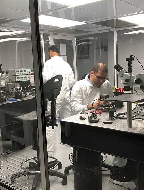 KVH photonics engineers test PICs for validation prior to production. (Photo: KVH)