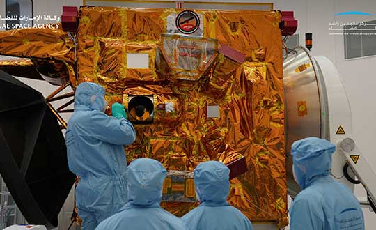 Engineers and technicians at the Mohammed bin Rashid Space Center prepare the Hope Probe for its trip to Mars. (Photo: UAE Space Agency)