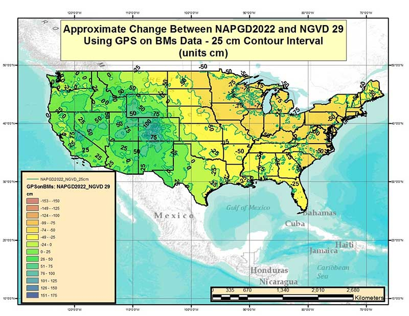 Figure 2 – Approximate Change Between NAPGD2022 and NGVD 29 Using GPS on BMs Data (units = cm). (Image: National Geodetic Survey)