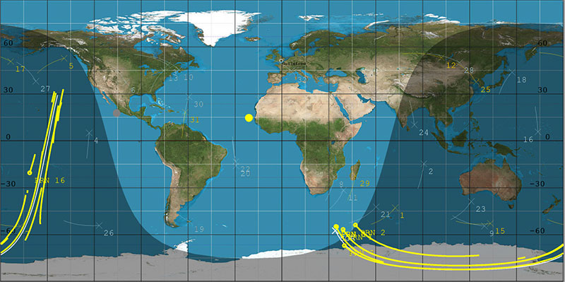 DoT-1 sub-satellite track (white) and GPS reflection tracks (yellow) collected during 40 minute data operation. (Image: SSTL)