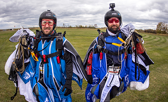 Post flight: Blair Egan (right) and Andrew Levson back on Earth. (Photo: NovAtel)