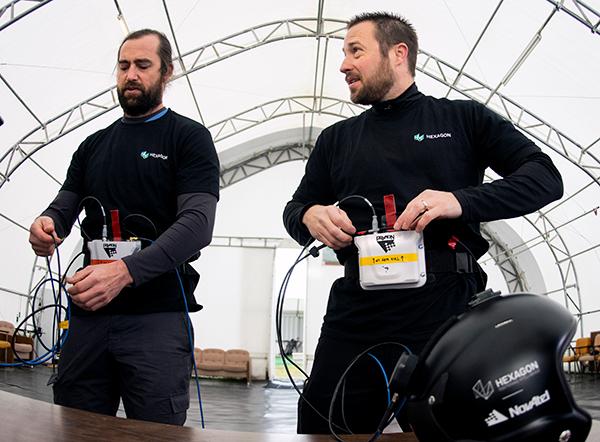 Wingsuit jumpers Andrew Levson (right) and Blair Egan suit up for the NovAtel tests. (Photo: NovAtel)