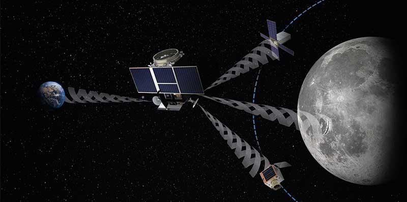 Artist's impression of the Lunar Pathfinder mission. (Image: SSTL)