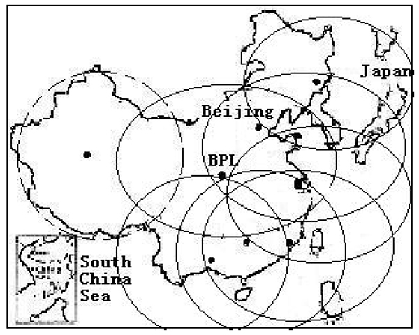 Graphic from 2014 Chinese Academy of Sciences paper on Loran showing projected coverage in the western part of the country with a dotted circle. (Image: RNT Foundation)