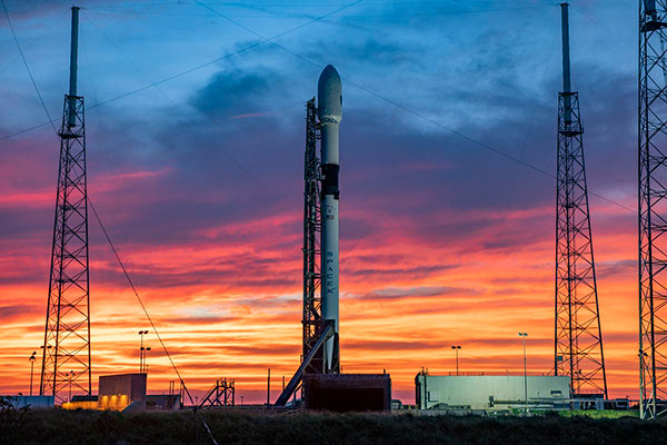 GPS III SV04 rests atop a Falcon 9 rocket, waiting to be sent into orbit. (Photo: SpaceX)