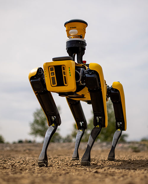 Spot, the robotic dog from Boston Dynamics, is equipped with the Trimble SPS986 smart antenna to collect data. (Photo: Trimble)