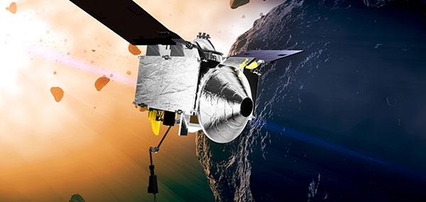 Artist's concept of the OSIRIS-REx spacecraft orbiting the Bennu asteroid. (Image: NASA)