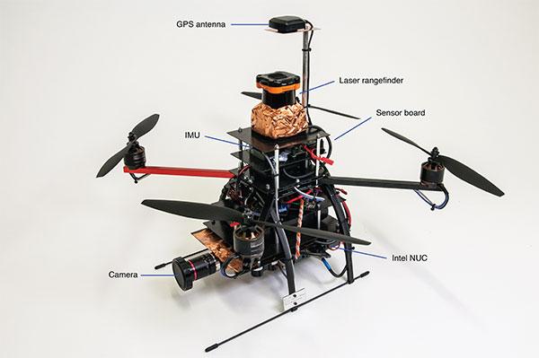 FIGURE 1. Components of the quadrotor helicopter. (Photo: K. Mueller, J. Atman, N. Kronenwett & G.F. Trommer)