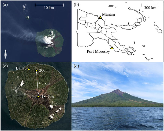 Manam volcano is located on the Northern coast of mainland Papua New Guinea. (Copyright © 2020 Wood K, et. al. BVLOS UAS Operations in Highly-Turbulent Volcanic Plumes. Frontiers in Robotics and AI. doi: https://doi.org/10.3389/frobt.2020.549716)