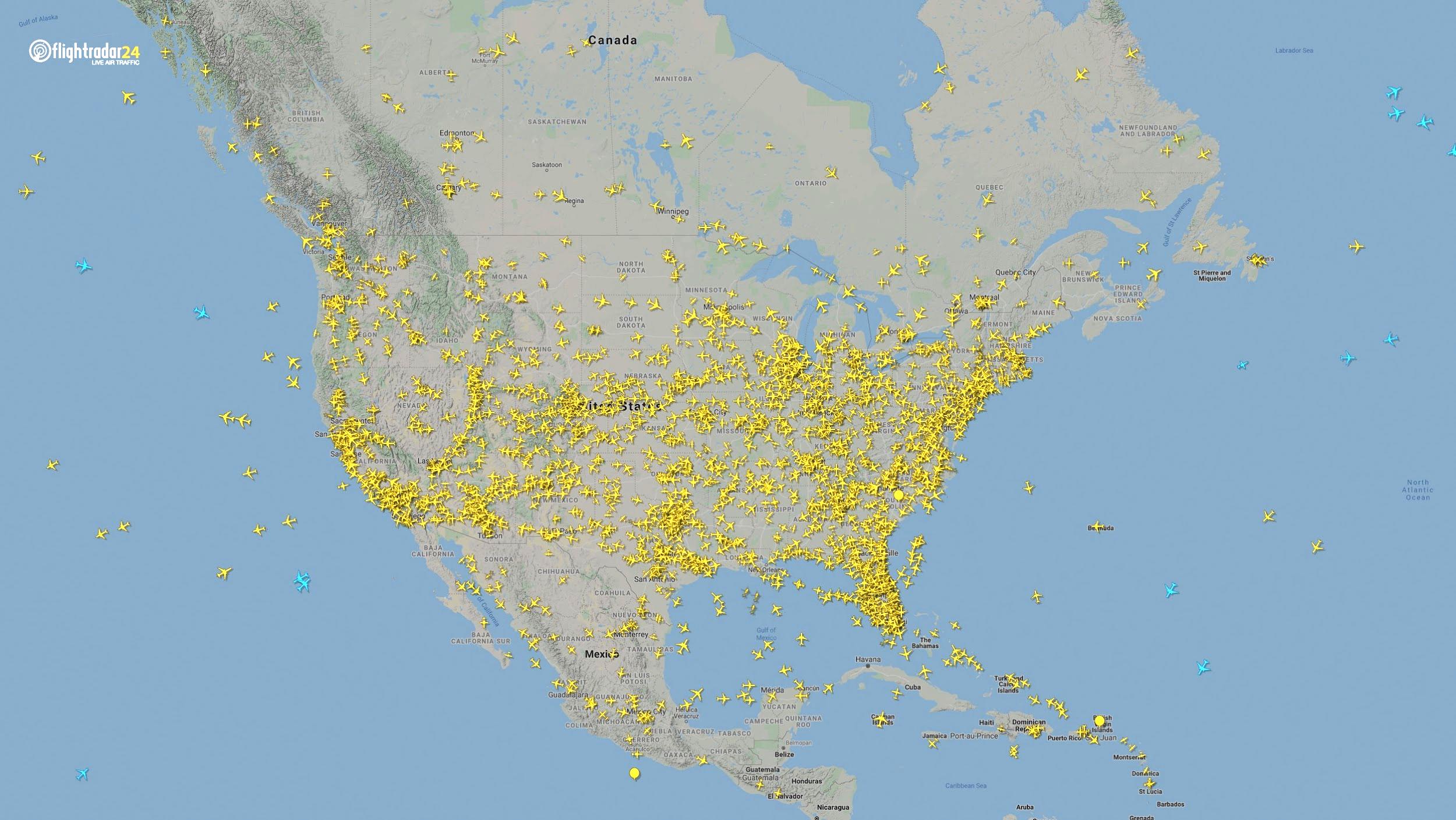 Air traffic over North America April 7, 2020. (Source: Flightradar24)