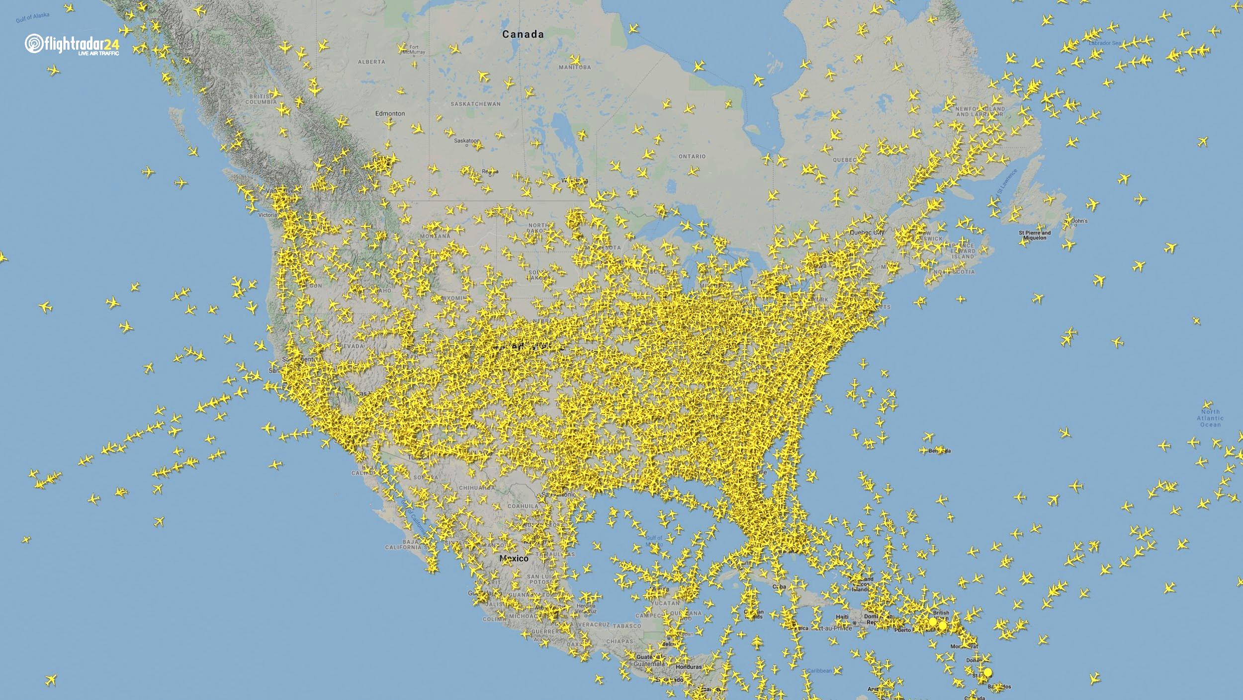 Air traffic over North America March 7, 2020. (Source: Flightradar24)