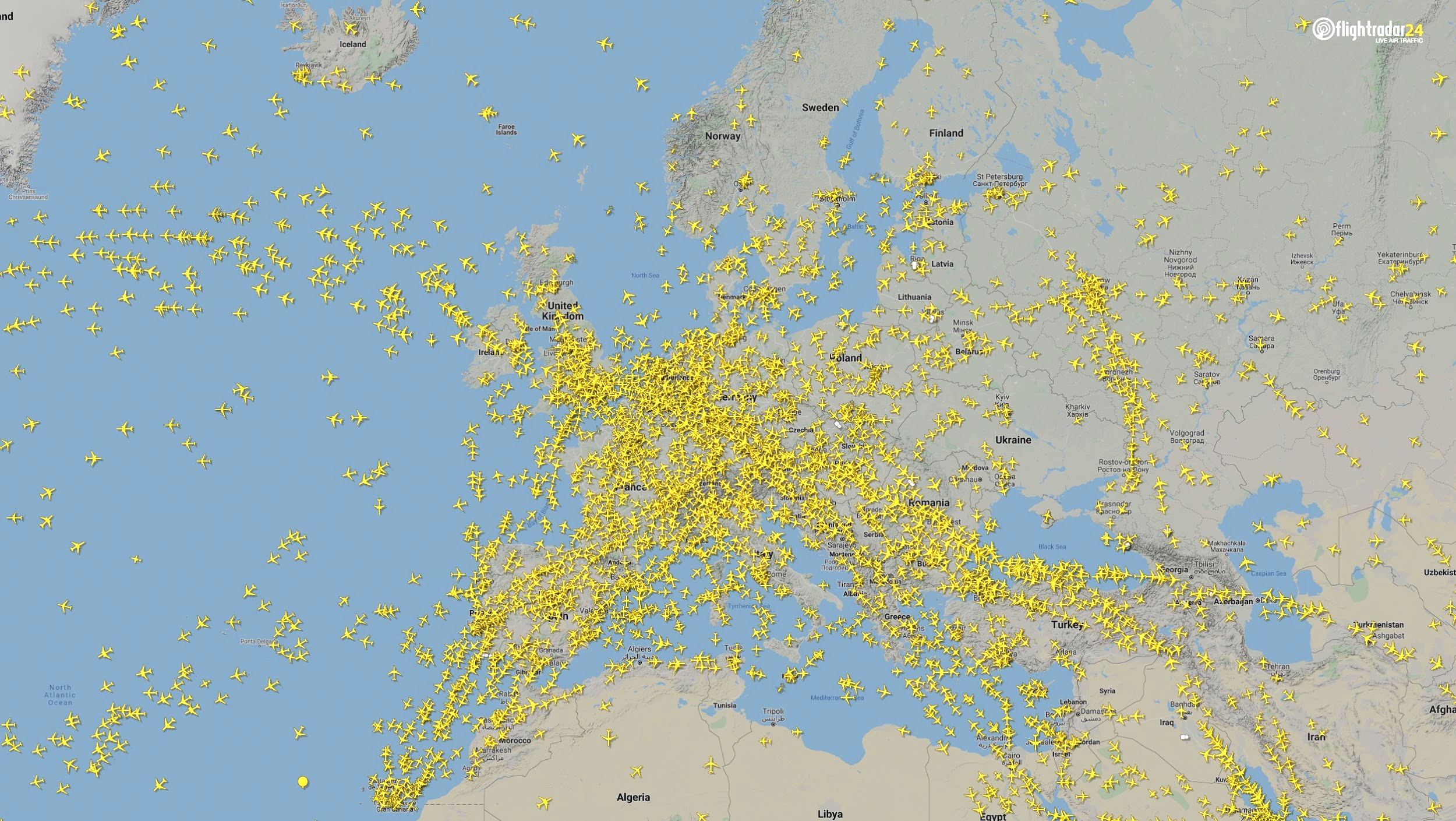 Air traffic over Europe March 7, 2020. (Source: Flightradar24)