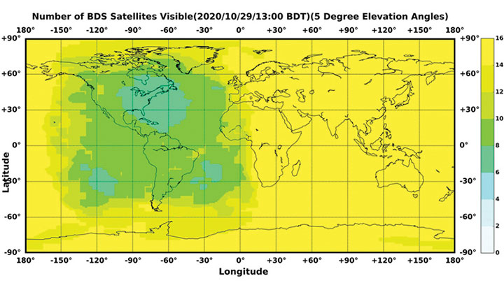 Figure 1. The number of visible BDS satellites as of BDT 13:00, Oct. 29, 2020. The number of visible satellites at Asia-Pacific Region is greater than 20. (Source: www.csno-tarc.cn)