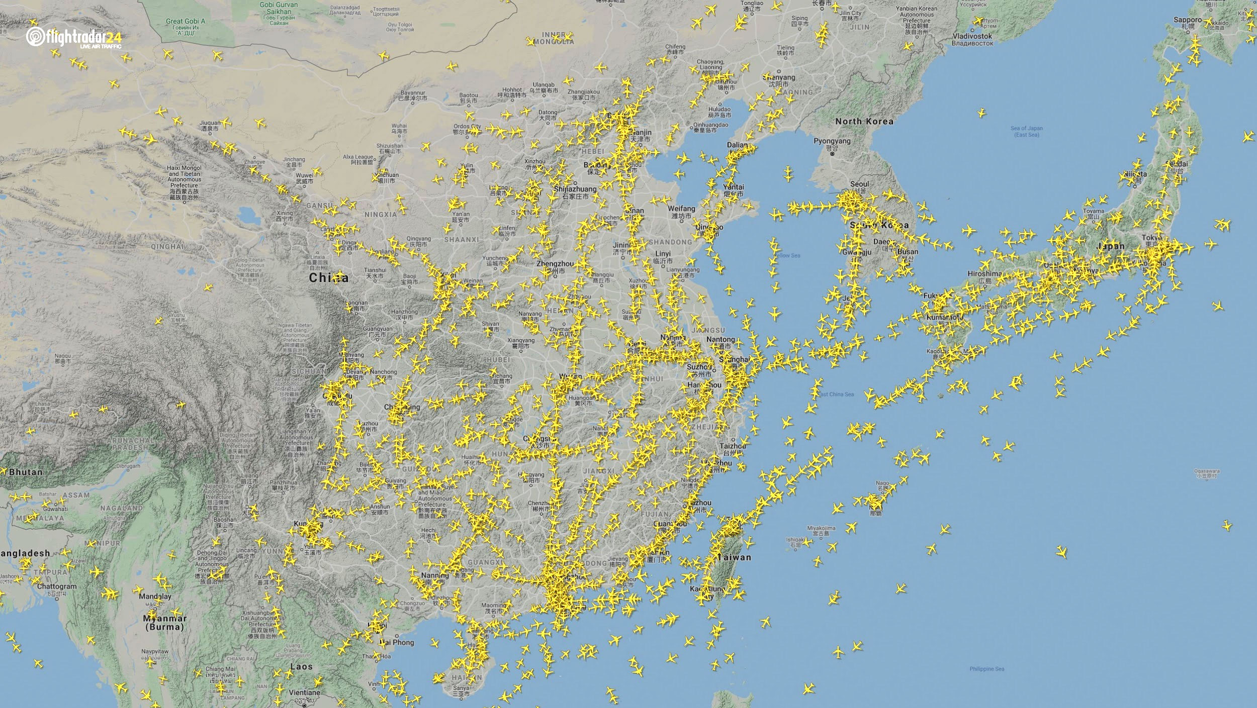Air traffic over East Asia January 7. (Source: Flightradar24)