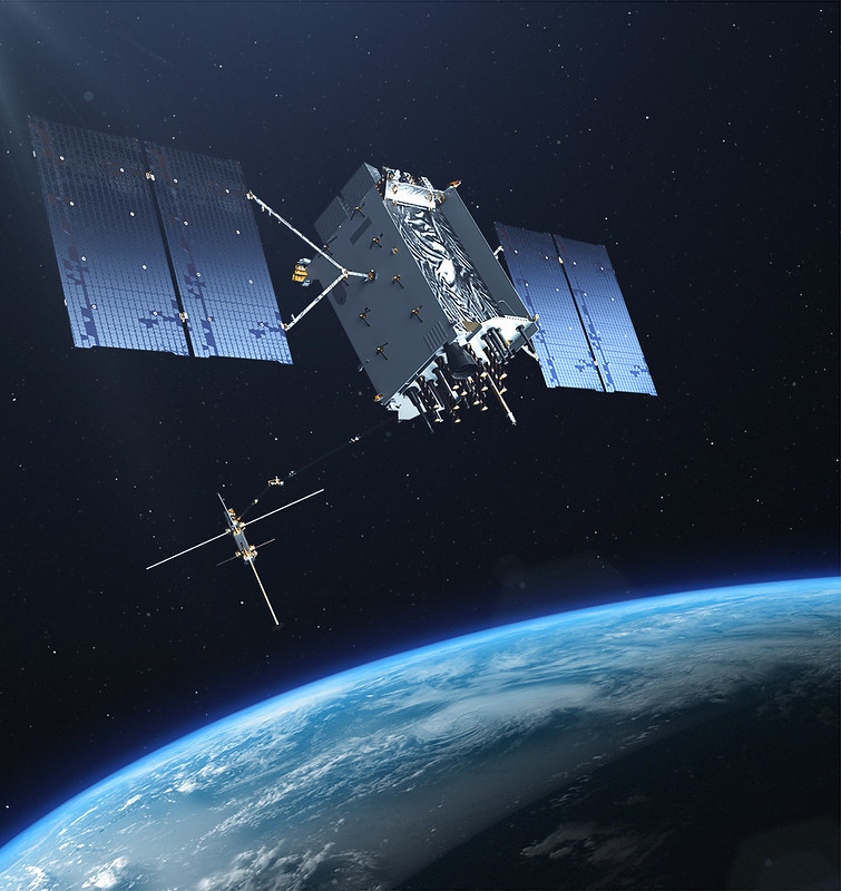 The U.S. Air Force's Lockheed Martin-built next generation GPS III satellite on orbit. Rendering portrays GPS III Space Vehicles (SVs) 01-10. (Artist's Rendering: Lockheed Martin)
