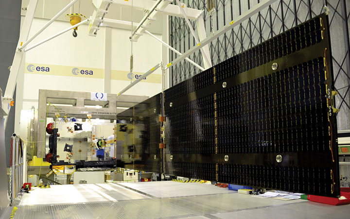 Galileo Batch 3 satellite under test at ESA's ESTEC facility in the Netherlands. (Photo: ESA)
