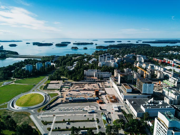Aerial shot of Espoo, Finland, from a drone. (Photo: izhairguns/iStock/Getty Images Plus/Getty Images)