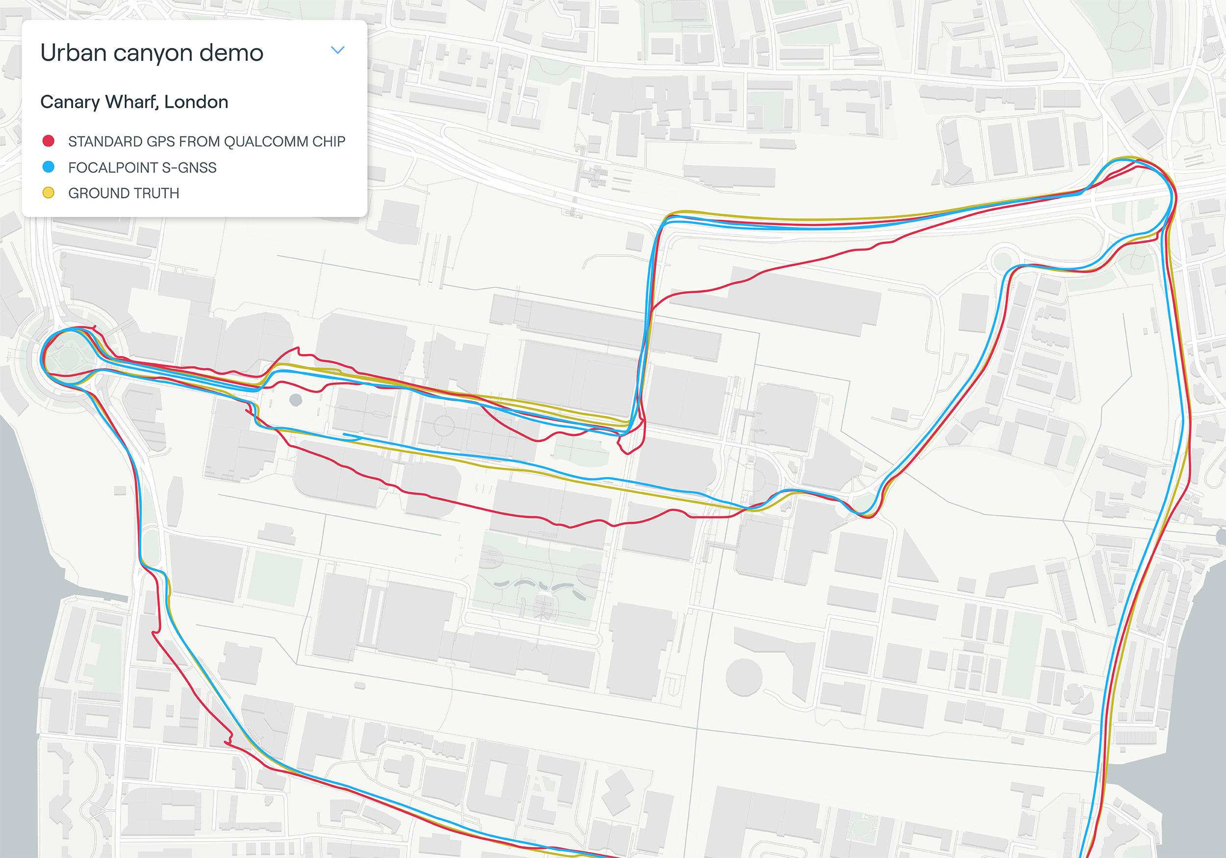 Map plot from live tests in London show the route of a vehicle driven through Canary Wharf. It shows the difference between the position provided by a standard smartphone GNSS chip (red line) and the same data run through Focal Point Positioning's Supercorrelation software (blue line). (image: u-blox)