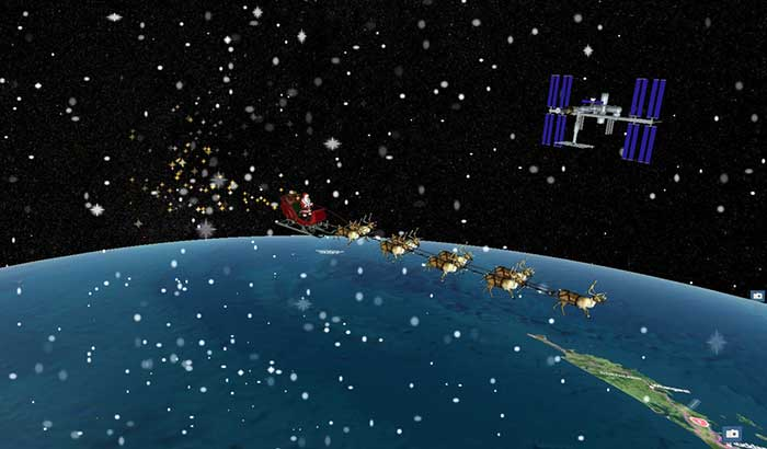 Santa's sleigh flying past the International Space Station on a precise digital twin of the Earth built by Cesium. (Photo: Cesium)