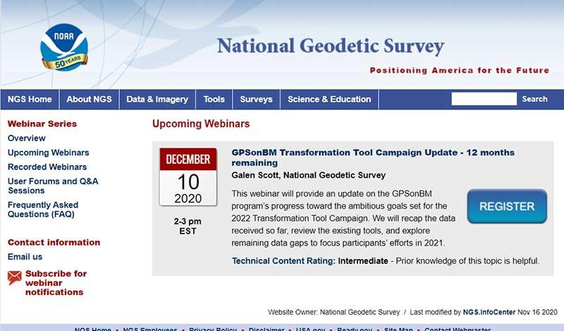 Screenshot: National Geodetic Survey
