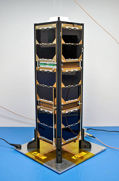 Bobcat-1, shown with its deployable antenna stowed, will experiment with the GNSS inter-constellation time offset from low-Earth orbit. (Photo: NASA)