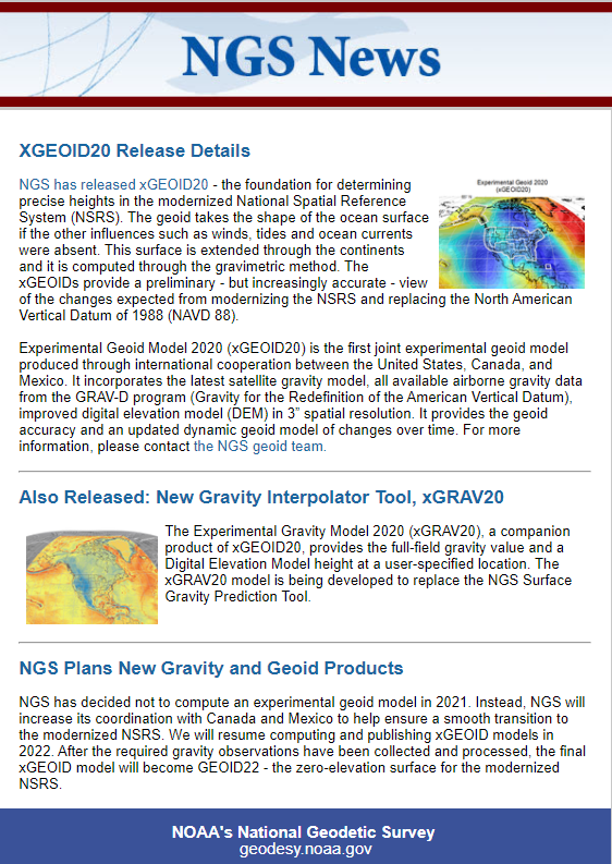 NGS Releases Annual Experimental Geoid Models & Gravity Interpolation Tools. (Image: NGS)